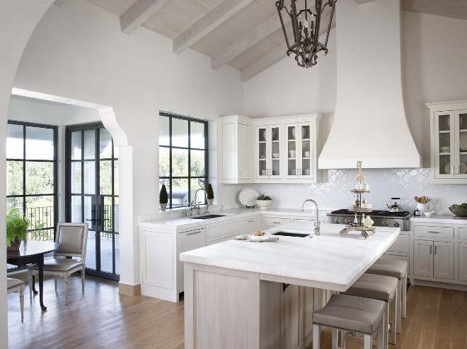 White Moroccan Kitchen, Moroccan inspired white kitchen with black panned windows and black panned French Doors , Neutral Moroccan Kitchen #WhiteMoroccanKitchen #Moroccaninspiredkitchen #Moroccaninspiredwhitekitchen #NeutralMoroccanKitchen