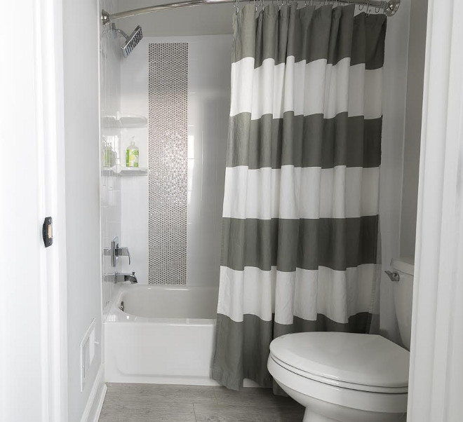 White and grey striped shower curtain, Striped White and grey shower curtain ideas #Whiteandgrey #stripedshowercurtain Beautiful Homes of Instagram @greensprucedesigns