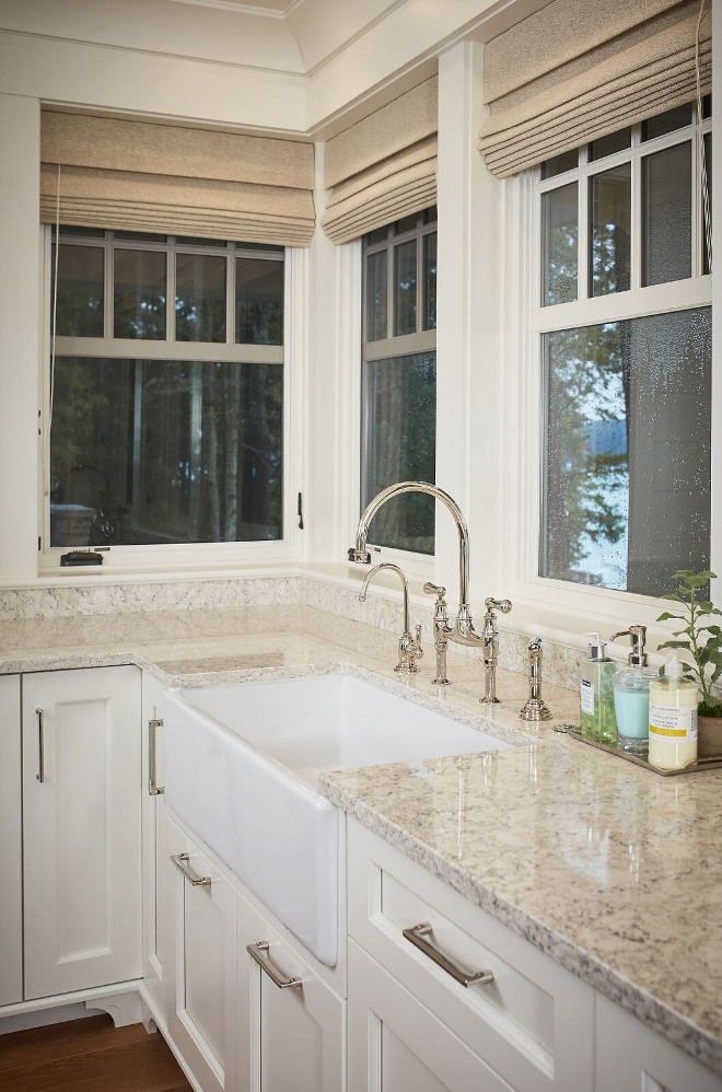 White granite countertop. Countertop is a durable white granite. Kitchen features a durable white granite countertop and kitchen faucet by Rohl. White granite countertop #Whitegranitecountertop #kitchenWhitegranitecountertop Dwellings