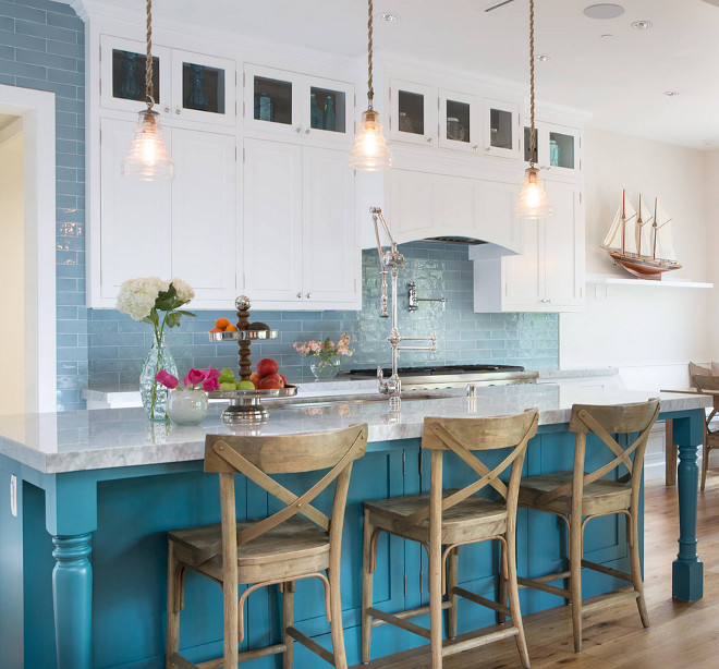 White kitchen with turquoise island and blue backsplash tile, Coastal kitchen with turquoise island and blue backsplash tile, Blue tile is Walker Zanger Cafe, color water #Whitekitchenturquoiseisland #bluebacksplashtile #Coastalkitchen #turquoisekitchenisland #bluebacksplash #bluetile #Blue #tile #WalkerZangerCafewater A.S.D. Interiors