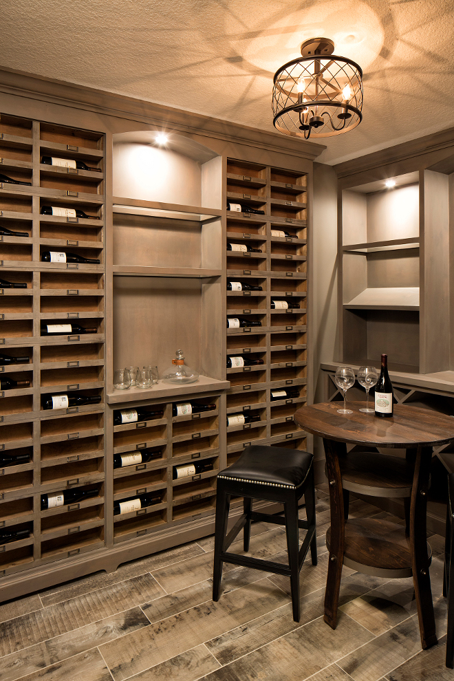 Wine Cellar, Wine Cellar Shelves, Flooring is a wood-looking ceramic tile, Wine Cellar Shelf Ideas, Wine Cellar Shelves #WineCellar #WineCellarShelves  Grace Hill Design