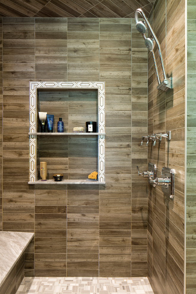 Wood like shower tile, Wood looking shower tile, Shower Wood like ceramic tile #Woodliketile #showertile #shower #tile #ShowerWoodceramictile #ShowerWoodtile Hendel Homes