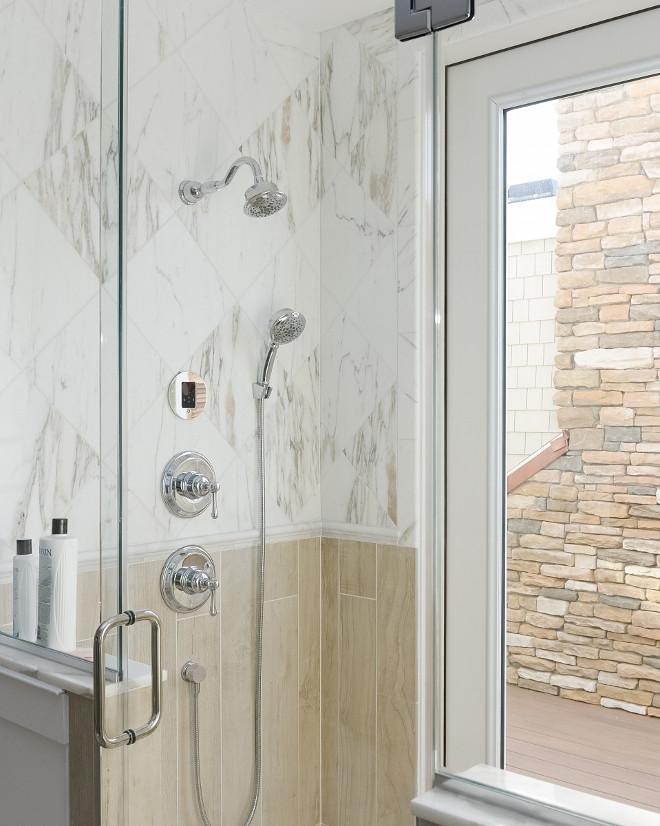 Bathroom Tile. Bathroom Tiling. The shower tiling is a combination of wood-like tile and marble. The wood-like tile is Dal Tile Saddlebrook, Oak Trail 6X36. #bathroomtiling #bathroomtile #tile #tiling Echelon Custom Homes