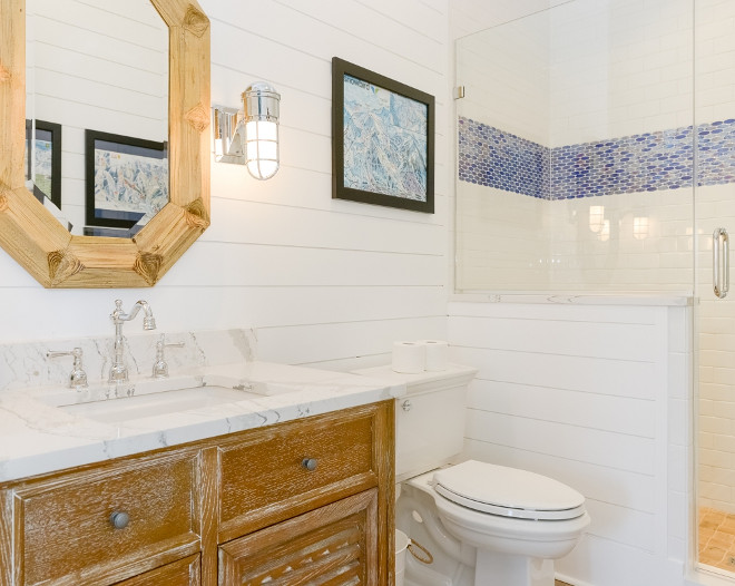 Bathroom with Whitewashed Oak Vanity. This guest bathroom beautifully combines shiplap with subway tile and a reclaimed white oak vanity. Accent tile is by Lunada Bay Tile. #Bathroom #WhitewashedOak #WhitewashedOakVanity Echelon Custom Homes