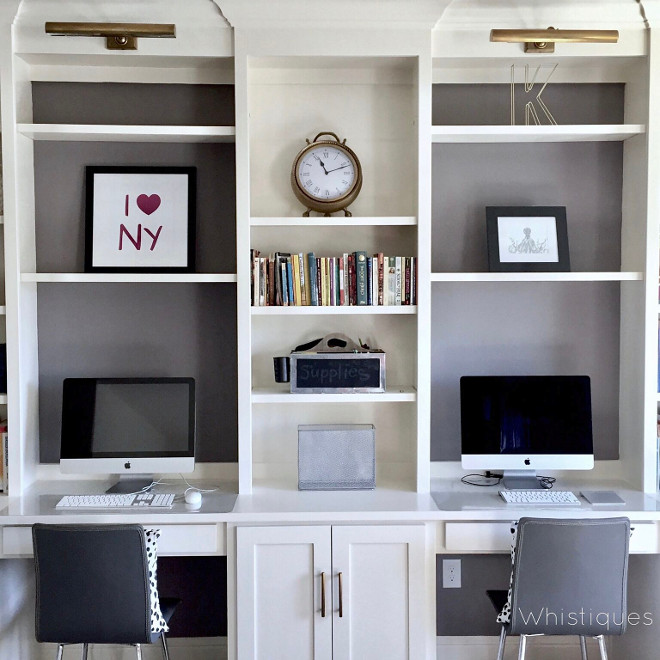 Benjamin Moore Stone. Built in desk with grey back bookshelves painted in Benjamin Moore Stone. Benjamin Moore Stone #BenjaminMooreStone Beautiful Homes of Instagram @whistiques