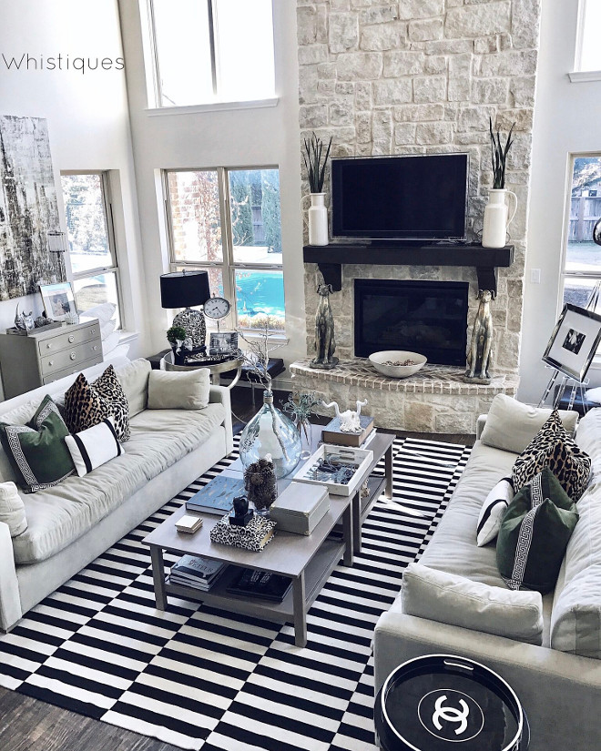 Black and white striped rug. Living room with black and white striped rug. Black and white striped rug. Living room with black and white striped rug ideas #Blackandwhite #stripedrug #Blackandwhiterug #BlackandwhitestripedRug #Livingroom #rug Beautiful Homes of Instagram @whistiques