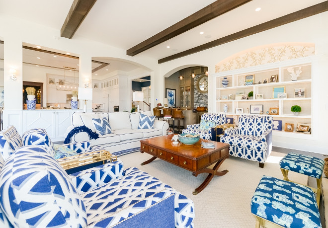 Blue and white living room sofa, chairs and pillows fabric. Blue and white living room sofa, chairs and pillows fabric. Blue and white living room sofa, chairs and pillows fabric #Blueandwhitelivingroom #Blueandwhitesofa #Blueandwhitechairs #Blueandwhitepillows #Blueandwhitefabric Echelon Custom Homes