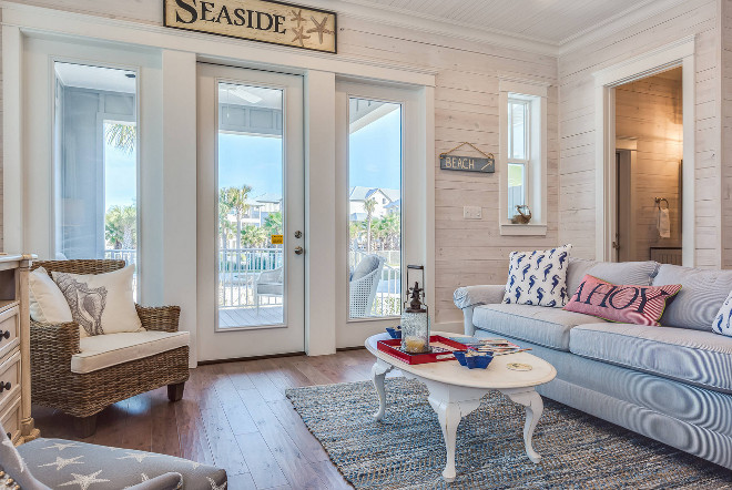 Cottage Living room with Whitewashed Plank Walls. Cottage Living room with Whitewashed Plank Walls. Coastal Cottage Living room with Whitewashed Plank Walls #Cottage #Livingroom #Whitewashed #PlankWalls #WhitewashedPlanks Erin E. Kaiser, Kaiser Real Estate Sales, Inc