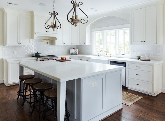 Creamy White Kitchen with soft gray kitchen island. Creamy White Kitchen with soft gray kitchen island. Creamy White Kitchen with soft gray kitchen island. Creamy White Kitchen with soft gray kitchen island #CreamyWhiteKitchen #softgraykitchenisland #graykitchenisland Willow Homes