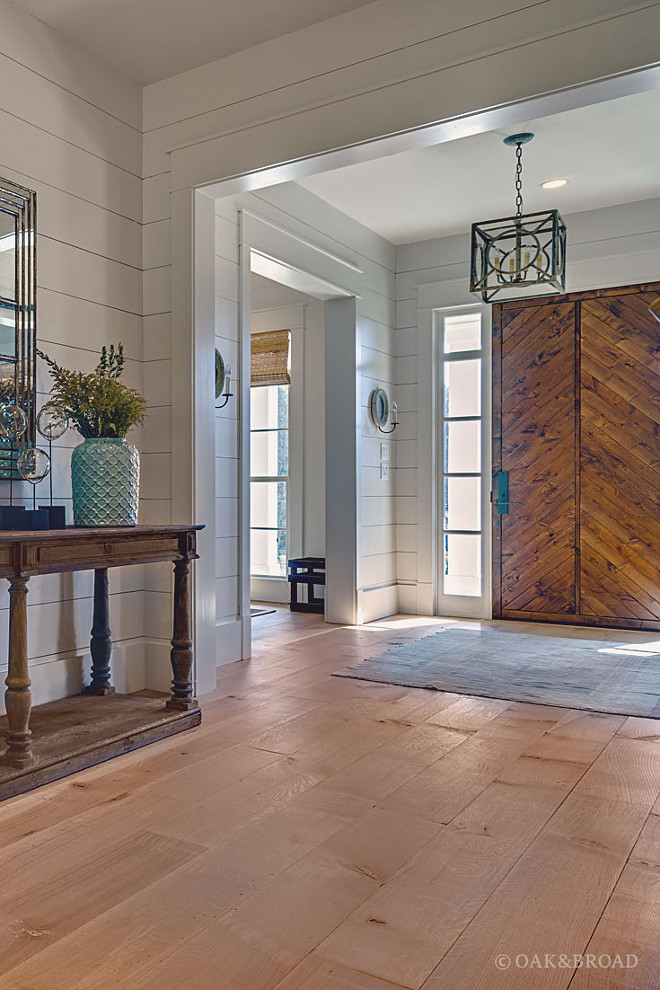 Custom White Oak Hardwood Floors, By having a fully custom floor designed by Oak & Broad, they were able to pair beautiful White Oak planks with a one-of-a-kind stain that was pitch-perfect #WhiteOakHardwoodFloors Oak & Broad