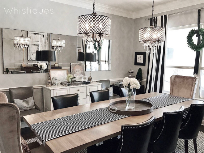 Dining Room. Grey and black and white dining room #DiningRoom #Greydiningroom #blackandwhitediningroom Beautiful Homes of Instagram @whistiques