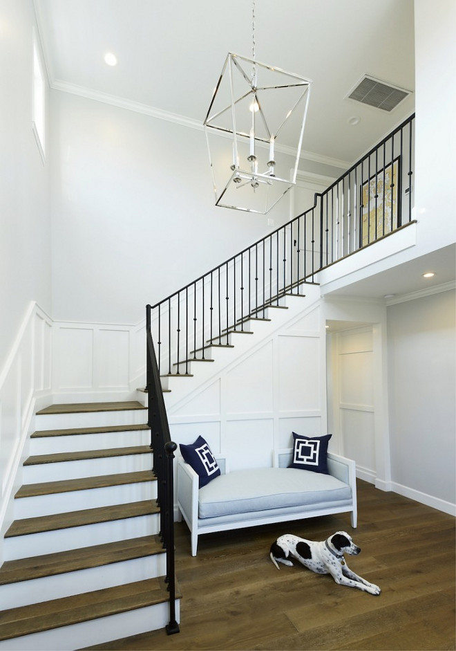Double height entry with custom staircase, white oak hardwood floors and white oak stair treads. Beautiful Double height entry with custom staircase, white oak hardwood floors and white oak stair treads #Doubleheightentry #entry #customstaircase #whiteoakhardwoodfloors #whiteoakstairtreads #stairtreads Hamilton Architects