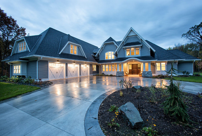 Exterior Color and Roof Ideas Hardie Siding Color Gray Slate, Trim Color James Hardie Arctic White, Roof is Timberline, color Charcoal Grace Hill Design, Gordon James Construction