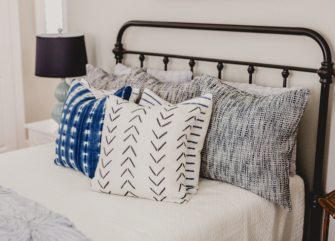 mudcloth pillows. mudcloth pillows. mudcloth pillows. Farmhouse bedroom with mudcloth pillows from @onefinenest #mudclothpillows #mudclothpillow #Blueandwhitemudclothpillow #Farmhouse Beautiful Homes of Instagram @house.becomes.home