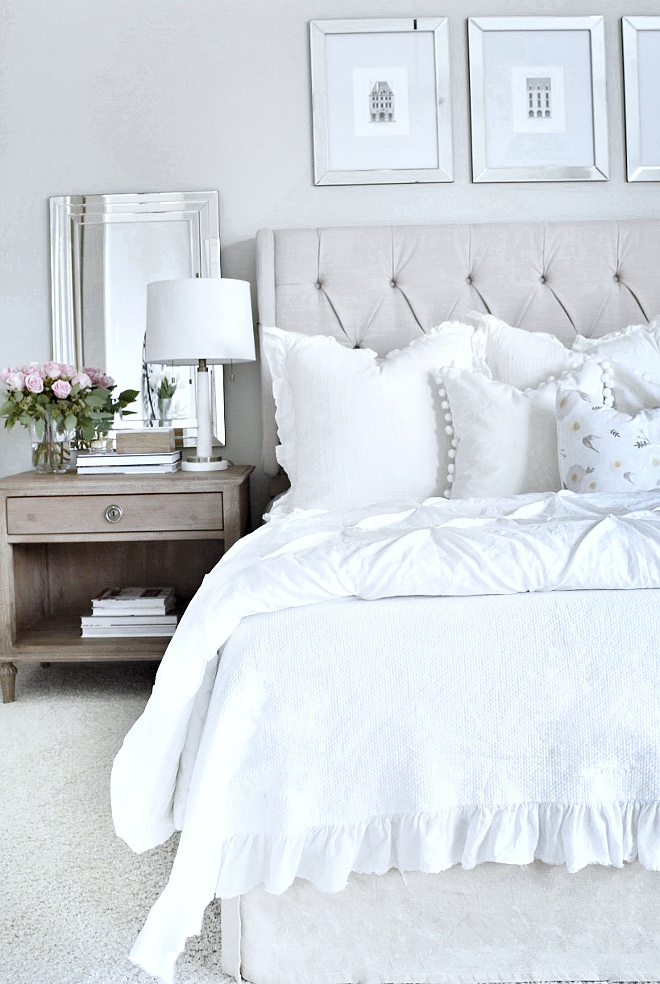 Farmhouse Bedroom. Elegant Farmhouse Bedroom. Headboard is from Wayfair. Farmhouse Bedroom. Elegant Farmhouse Bedroom. #FarmhouseBedroom #Elegantbedroom #Farmhouse #Bedroom My Texas House @MyTexasHouse