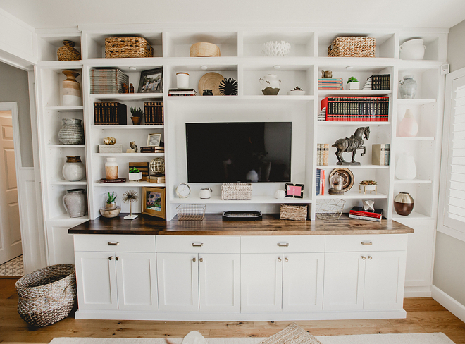 Farmhouse Family Room Media Cabinet-Farmhouse Family Room Media Cabinet-The paint color is Simply White Benjamin Moore- Farmhouse Family Room Media Cabinet #FarmhouseFamilyRoom #MediaCabinet Beautiful Homes of Instagram @house.becomes.home