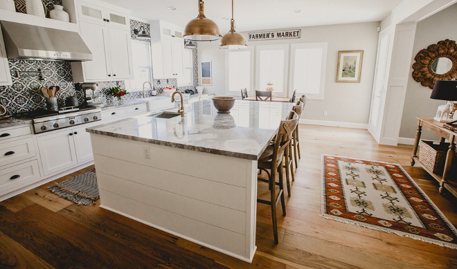 Farmhouse Kitchen with extra wide plank hardwood floors, farmhouse kitchen runner, shiplap kitchen island, farmhouse wall decor and cement tile backsplash #Farmhousekitchen #FarmhouseKitchens #extrawideplankhardwoodfloors #wideplankhardwoodfloor #farmhousekitchenrunner #kitchenrunner #shiplapkitchen #shiplapkitchenisland #farmhousewalldecor #cementtilebacksplash Beautiful Homes of Instagram @house.becomes.home