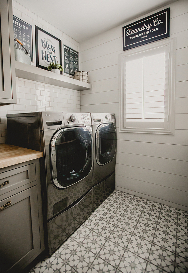 Farmhouse Laundry room with cement Tile flooring, white shiplap walls and white subway tile backsplash. Grey Farmhouse Laundry room with cement Tile flooring, white shiplap walls and white subway tile backsplash, Farmhouse Laundry Room #farmhouselaundryroom #Farmhouse #Laundryroom #greyfarmhouselaundryroom #Greylaundryroom #cementTile #cementTileflooring #whiteshiplapwalls #shiplapwalls #whitesubwaytile #Subwaytilebacksplash Beautiful Homes of Instagram @house.becomes.home