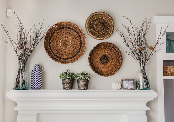 Farmhouse Wall Decor, Vintage basket above the fireplace mantel. The baskets are from thrift stores. #farmhouse #walldeocr #baskets Beautiful Homes of Instagram @house.becomes.home