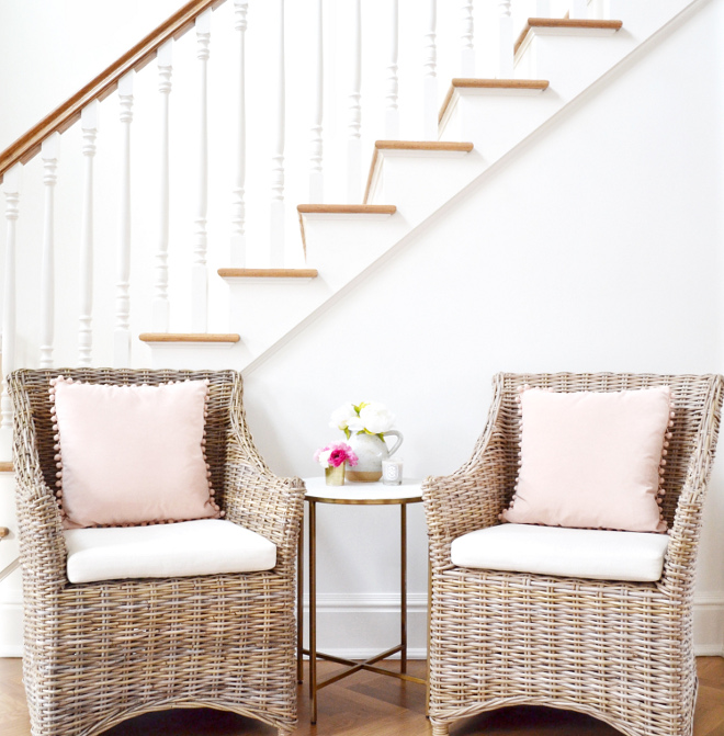 Foyer Wicker Chairs. The wicker chairs are from Overstock and the marble table is from Target. Foyer Wicker Chairs #Foyer #WickerChairs Beautiful Homes of Instagram @HomeSweetHillcrest