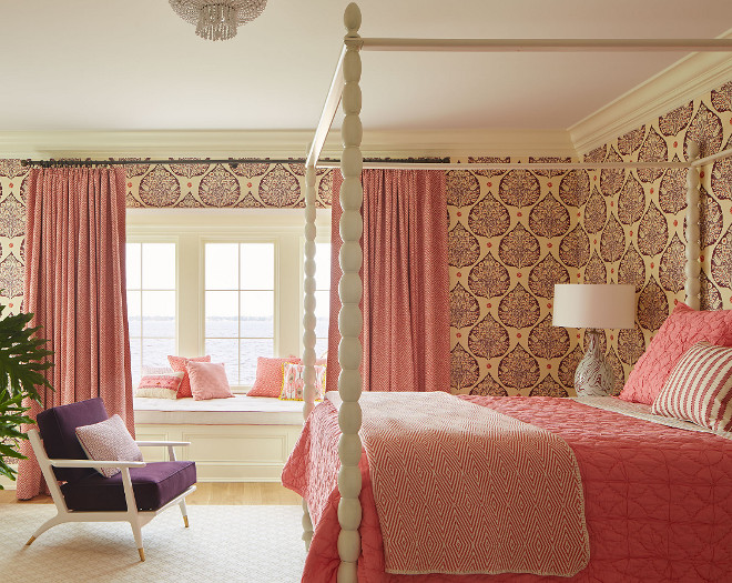 Galbraith and Paul Wallpaper. Girls bedroom with Galbraith and Paul Wallpaper #GalbraithandPaulWallpaper Andrew Howard Interior Design
