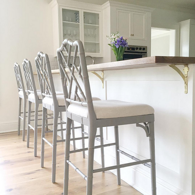 Grey Barstools. Grey Barstools. Ballard Designs Grey Barstools. The peninsula has an oak wood counter stained to match the floors. Grey Barstools. Grey Barstools #GreyBarstools Beautiful Homes of Instagram @HomeSweetHillcrest