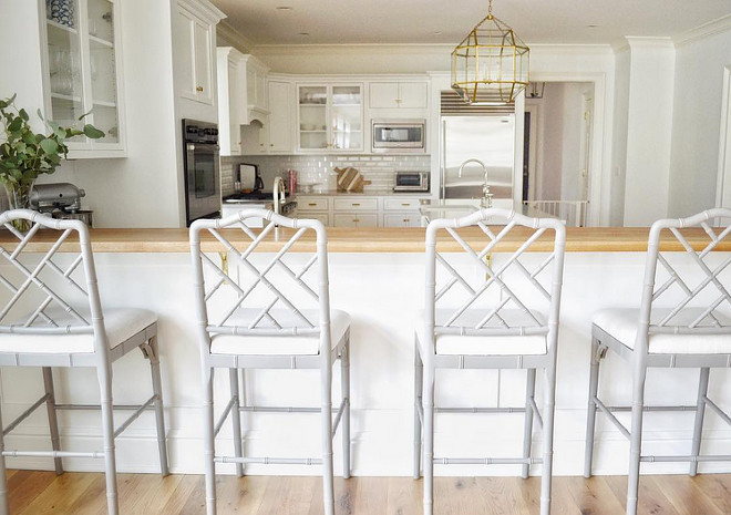 Grey Kitchen Stools. Grey Kitchen Stools are from Ballard Designs. #GreyKitchenStools #Barstools Beautiful Homes of Instagram @HomeSweetHillcrest