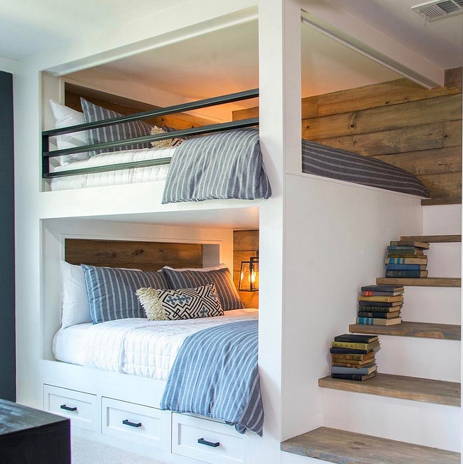 Fixer Upper Rustic Bunk Room. HGTV Fixer Upper Rustic Bunk Room. Fixer Upper Rustic Bunk Room. Fixer Upper Rustic Bunk Room with staircase style ladder and rustic shiplap paneling. Fixer Upper Rustic Bunk Room #FixerUpper #RusticBunkRoom #BunkRoom #FixerUpperBunkRoom