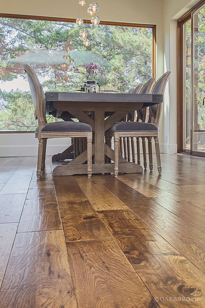 Hand-Scraped Floors It's easy to think of hardwood floors as being flat, but there are many ways to add texture and dimension to a floor- One of our favorites is hand-scraping, which creates a natural, organic variation in the floor's surface and adds a depth and charm unlike anything else #HandScrapedFloors Oak & Broad