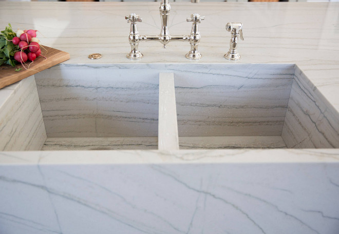 Heirloom Quartzite. Kitchen countertop and farmhouse sink is Heirloom Quartzite. Heirloom Quartzite. Heirloom Quartzite. Heirloom Quartzite #HeirloomQuartzite #Heirloom #Quartzite #QuartziteCountertop #QuartziteSink Luster Custom Homes & Remodeling