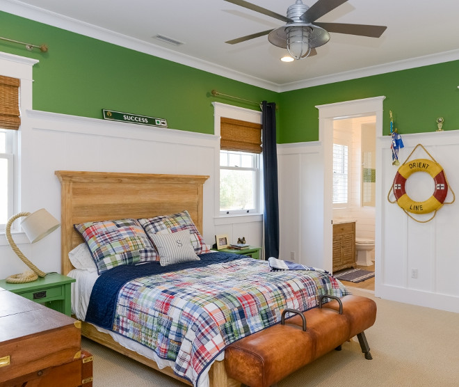 Kids Bedroom with wainscoting and Kelly Green Walls. What a fantastic kid's bedroom! I love the white wainscotting against the green walls. #KidsBedroom #bedroomwainscoting #KellyGreen Echelon Custom Homes