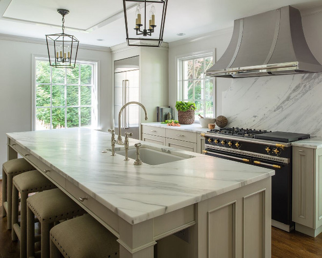 Kitchen Calcatta Gold Marble Honed, eased edge Countertop. Grey kitchen with Calcatta Gold Marble Honed, eased edge countertop #CalcattaGoldMarbleHoned #easededgecountertop Anthony Wilder Design/Build, Inc