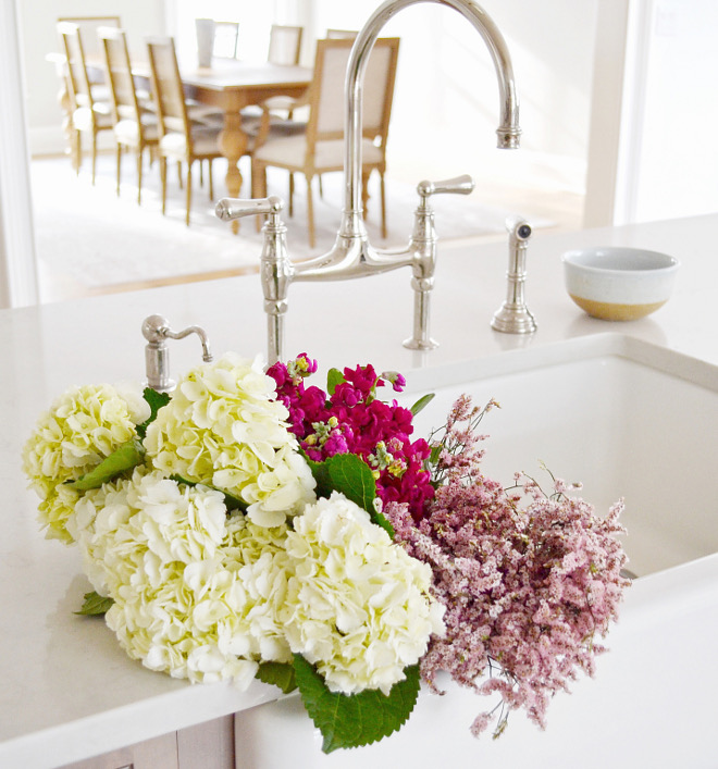Kitchen Farmhouse Sink. Kitchen Farmhouse Sink. Aside from the lighting, the kitchen faucets are one of my favorite details in our home, they are so pretty! I'm a big believer in spending a little extra for certain pieces that will stand out, and lighting and faucets are where it's at! Faucet is Perrin and Rowe in Polished Nickel. Kitchen Farmhouse Sink. Kitchen Farmhouse Sink. Kitchen Farmhouse Sink #Kitchen #FarmhouseSink Beautiful Homes of Instagram @HomeSweetHillcrest