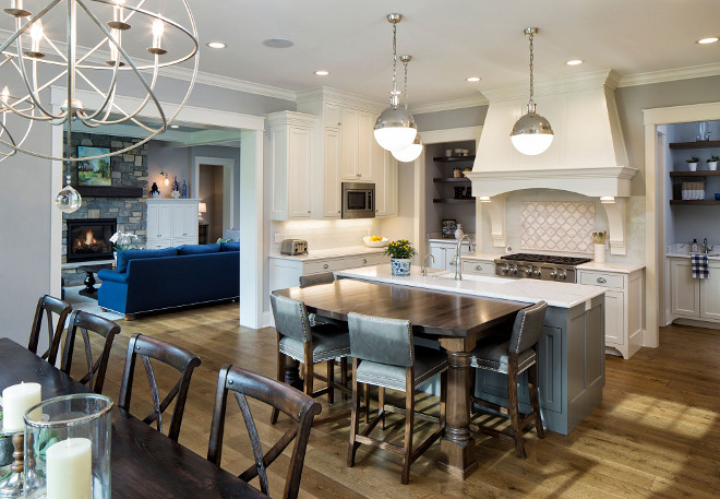 Kitchen layout Kitchen opens to kitchen nook - Doors, flanked by kitchen hood opens to a butler's pantry and kitchen pantry #Kitchenlayout Grace Hill Design