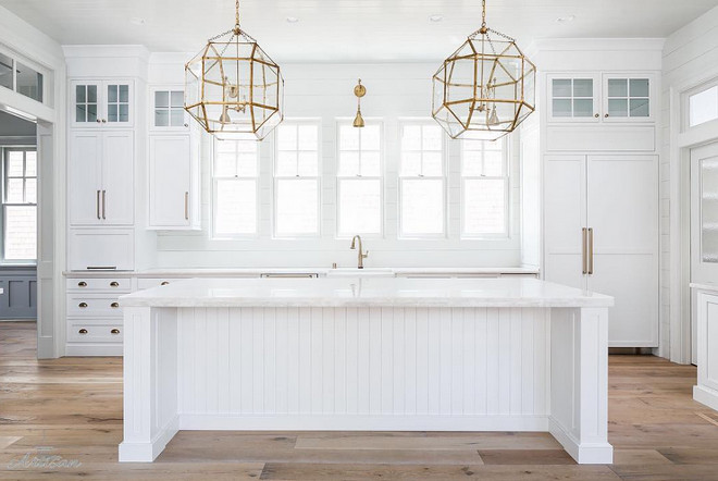 Kitchen lighting. Brass Kitchen Lighting. Brass Kitchen Lighting above island and above window. Suzanne Kasler Morris Lantern in Gilded Iron. Brass arm lights over the sink are from Savoy house #SuzanneKasler #MorrisLantern #GildedIronMorrisLantern #Kitchenlighting #kitchen #lighting #brasslighting #BrassKitchenLighting #Brass #Kitchen #Lightingaboveisland #Lightingabovewindow Built by Artisan Signature Homes. Interior Design by Gretchen Black from Greyhouse Design