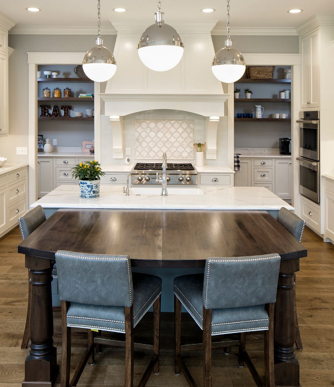 Kitchen with Hicks Large Pendant in Polished Nickel with White Glass - Kitchen features three Hicks Pendants in Polished Nickel with White Glass - Kitchen pendant lights Kitchen with Hicks Large Pendant in Polished Nickel with White Glass #KitchenLights #kitchenpendants #HicksPendant #polishedNickel #WhiteGlass Grace Hill Design