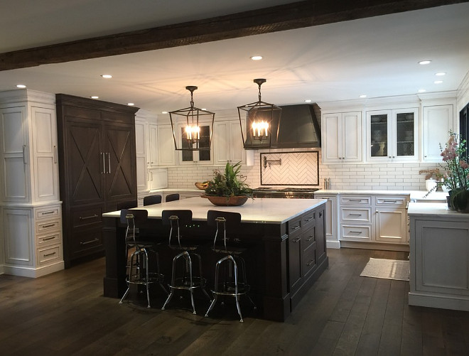 Kitchen with dark stained hardwood floors and dark stained kitchen island #Kitchen #darkstainedhardwoodfloors #darkstainedkitchenisland Oak & Broad