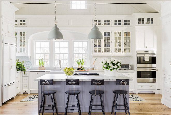 Classic American Kitchen with white cabinets painted in Benjamin Moore White Dove and grey kitchen island painted in Soft Moodiness Farrow and Ball #Classickitchen #kitchen #Kitchenpaintcolor #whitekitchen #greyisland #paintcolor #ClassicAmericanKitchen Nancy Serafini Interior Design