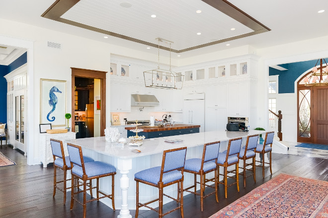 L-Shaped Kitchen Island. I love the idea of having a large l-shaped island and a separated prep-island. This is perfect if you have a large family or like to entertain often. L-Shaped Kitchen Island and prep island. Kitchen features a L-Shaped Kitchen Island and a prep island. L-Shaped Island #LShapedkitchenisland #LShapedisland Echelon Custom Homes