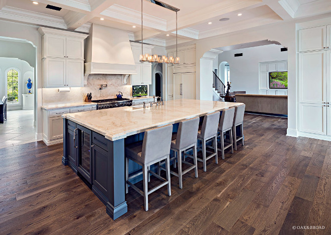 Live Sawn Hardwood Floor-White kitchen with blue island and Live Sawn Hardwood Floor- Live Sawn Hardwood Floor #LiveSawnHardwoodFloor #LiveSawn #HardwoodFloor Oak & Broad
