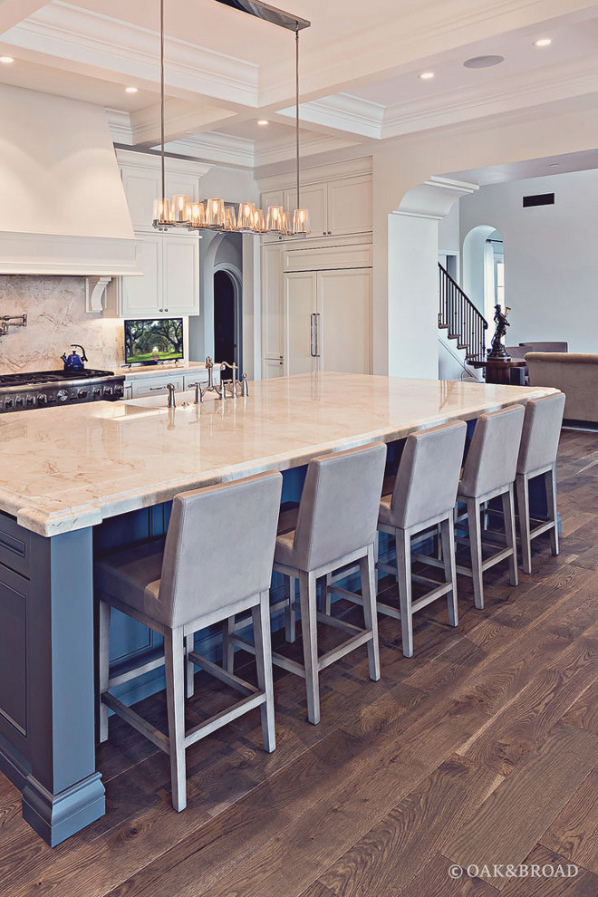 "Live Sawn Hardwood Flooring- Kitchen with Live sawn Hardwood Floors-Live sawn floors are cut straight through the log, producing wavy ""cathedrals"" along the center of the board and straighter grain on the edges #LivesawnHardwood #LivesawnHardwoodFloor Oak & Broad"