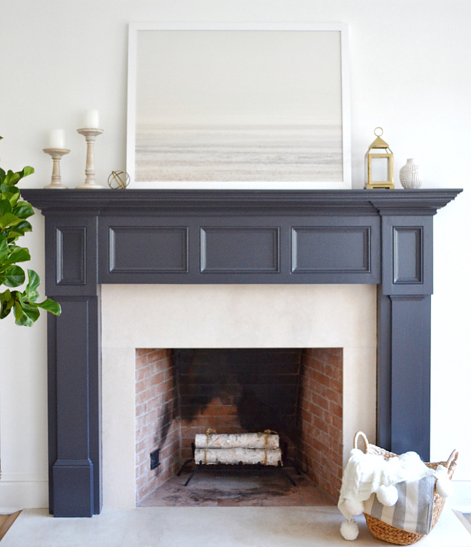 Living Fireplace Paint Color. Dark fireplace paint color. The dark paint color used on this fireplace mantel is Benjamin Moore Midnight Oil. The fireplace paint color is Benjamin Moore Midnight Oil #BenjaminMooreMidnightOil #fireplace #paintcolor Beautiful Homes of Instagram @HomeSweetHillcrest