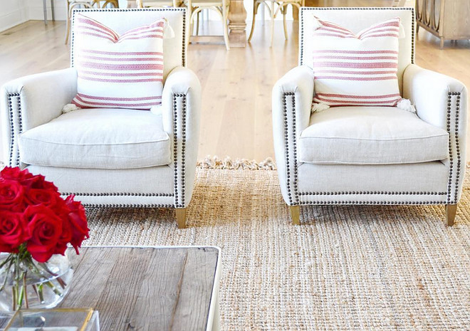 Living room chairs. Chairs are Restoration Hardware Marcel Upholstered Club. Fabric is Belgian Linen in Sand. Rug is the Maui Chunky Loop rug in Natural by Rugs USA.  #livingroomchairs Beautiful Homes of Instagram @HomeSweetHillcrest