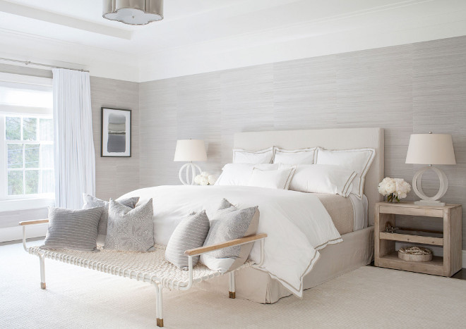 Master Bedroom Phillip Jeffries Wallpaper, Creamy hues are found in the master bedroom, which features a Phillip Jeffries wallpaper, alabaster lamps from Circa Lighting and a cotton rope cot from Anthropologie, used as a bench #MasterBedroom #PhillipJeffries #Wallpaper Chango & Co