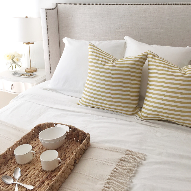 Master Bedroom Pillow. Master Bedroom Pillows. The master bedroom is just like the rest of the house; beautiful, stylish yet not complicated. King size bed is the Haley Wingback in Talc Linen from One Kings Lane. White duvet is from Pottery Barn. Pillows are from Studio McGee. Master Bedroom Pillow Ideas. Master Bedroom Pillow #MasterBedroomPillow #MasterBedroomPillows #MasterBedroom #Pillows