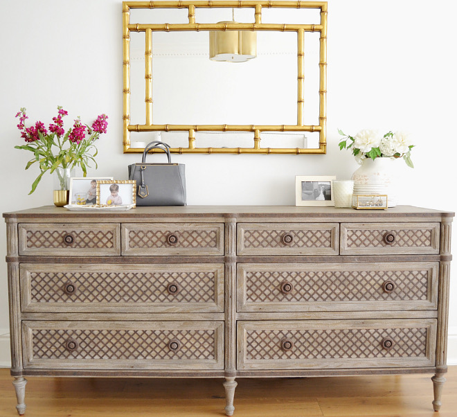 Master Dresser. Master Bedroom dresser is Dresser is the Louis XVI Treillage 8-Drawer dresser from Restoration Hardware in Weathered Pine finish #Masterbedroom #dresser #bedroomdresser Beautiful Homes of Instagram @HomeSweetHillcrest
