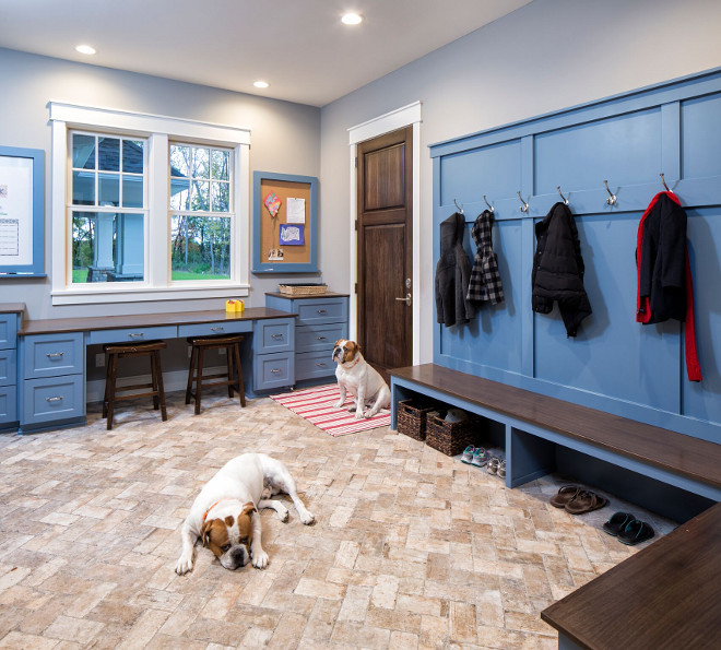 "Mudroom Brick Floor - Mudroom Brick Flooring - Mudroom with whitewashed brick floor, Brix Southside 4""x8"" from Ceramic Tileworks; Lay in a herringbone pattern, The brick flooring in the Mudroom was inspired by the homeowner's grandmother's home The bold cabinetry color and long desk/work space in the Mudroom allows this room to be multi-purpose #MudroomBrickFloor #MudroomBrickFlooring #Mudroom #BrickFloor #BrickFlooring #whitewashedbrickfloor"