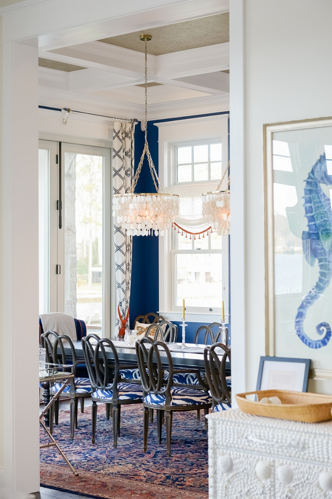 Navy Blue Dining Room. I love the contrast of the crisp white trim with the navy blue walls in this dining room. Navy Blue Dining Room Ideas. Navy Blue Dining Room. Navy Blue Dining Room #NavyBlueDiningRoom #NavyDiningRoom Echelon Custom Homes