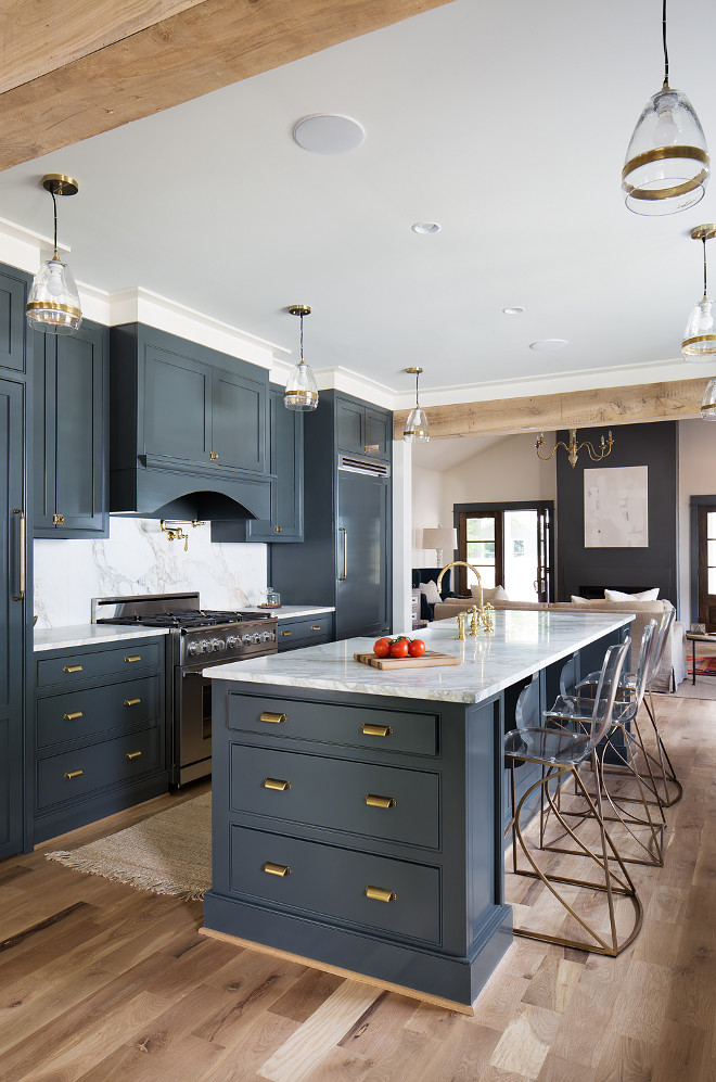 Navy Farmhouse Kitchen. Navy Farmhouse Kitchen. Navy Farmhouse Kitchen Cabinet with brass hardware. Navy Farmhouse Kitchen paint color is Down Pipe by Farrow and Ball. Brass hardware is Martha Stewart from Home Depot. #NavyFarmhouseKitchen #Navykitchen #FarmhouseKitchen #Cabinet #DownPipebyFarrowandBall Willow Homes