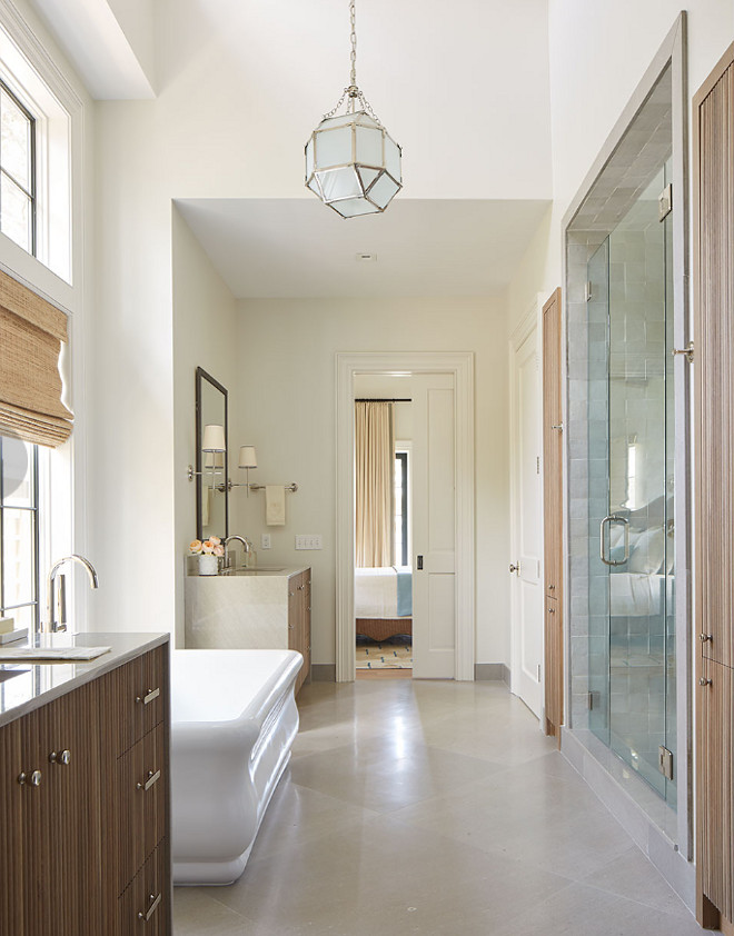 Neutral Bathroom Flooring Ideas. Notice the waterfall-edge vanities. The flooring is Limestone and the shower tile is Mosaic House R'Ceef. Neutral Bathroom Flooring Ideas. Neutral Bathroom Flooring Ideas. Neutral Bathroom Flooring Ideas #NeutralBathroomFlooring #NeutralBathroomFlooringIdeas Andrew Howard Interior Design